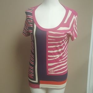 TORY BURCH Pink Graphic T-Shirt - Size XS
